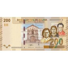 (769) ** PNew Bolivia 200 Pesos Bolivianos Year 2019