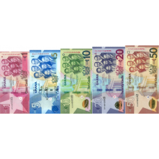 (781) ** PNew Ghana Set from 5 Notes (1-5-10-20 & 50 Cedis) Year 2019