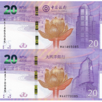 (737) ** PNew Macau 20 Patacas Year 2019 (2 Notes from Bank of China & Banco Ultramarino)