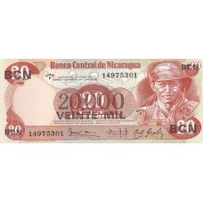 (547) Nicaragua P147 - 20.000 Cordobas Year 1987 (Overprint)
