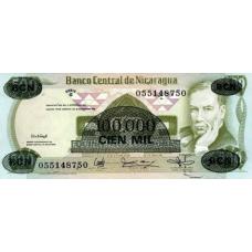 (548) Nicaragua P149 - 100.000 Cordobas Year 1987 (Overprint)