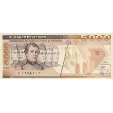 P 88 Mexico 5000 Pesos Year 1989