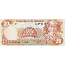 P135 Nicaragua 20 Cordobas Year 1979